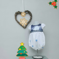 12-18 months Girl Christmas Bubble Romper. Infant Wedding Wear, Party Outfit.