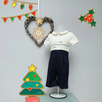 12-18 month Boy Christmas Buster Suit, Infant Wedding Wear, Child Party Outfit.