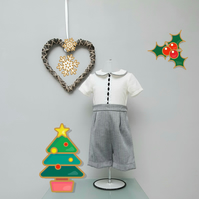 12-18 month Boy Christmas Buster Suit Infant Wedding Wear, Child Party Outfit.