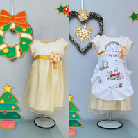 12-18months Christmas Dress, and Apron Special Offer. Baby Girl Party Dress.