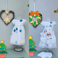 9-12months Christmas Dress, and Apron Special Offer. Baby Girl Party Dress.