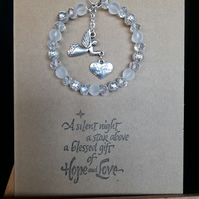 Hand made glass bead decoration with angel, attached to greetings card