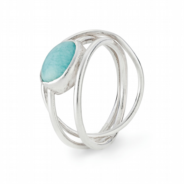 Rusa by Fedha - rigid sterling silver Russian wedding ring set with amazonite