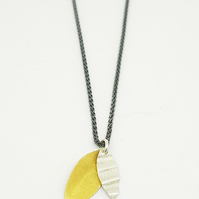 Pilar by Fedha - double leaf pendant in silver and vermeil, oxidised spiga chain