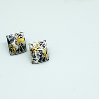 Maya by Fedha - oxidised sterling silver stud earrings, embossed pattern
