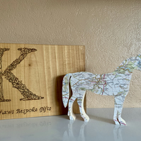 Horse decoration, map covered horse, equestrian gift, pony gift, Christmas