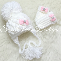 Baby girl Crochet Pom Pom hat