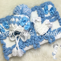 Crochet chunky baby blanket, Hat & Mitts set