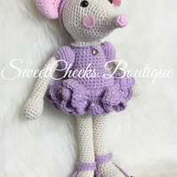 Crochet cotton ballerina mouse Amigurumi 16 inches tall