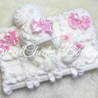 Baby girl crochet chunky pram blanket, Pom Pom hat & mitts set