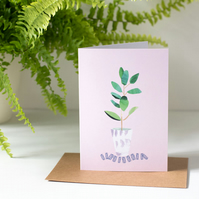 Houseplant Illustrated Blank Greeting Card for Plant Lovers