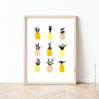 Pineapples! Modern and Minimalist Kitchen Wall Art - Illustrated Print