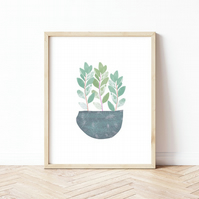 Gentle Leaves Potted Plant - Minimalist Calm Leafy Wall Art Print