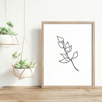 Line drawing - Minimalist Plant Leaves Wall Art