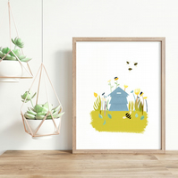 Save our Bees! Illustrated Beehive with Bees Art Print