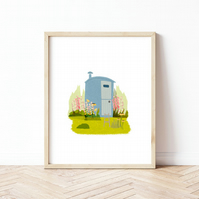 In the Garden - Shepherds Hut - Illustration - Art Print