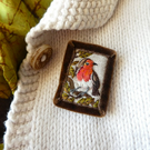 Robin Brooch- hand stitched textile