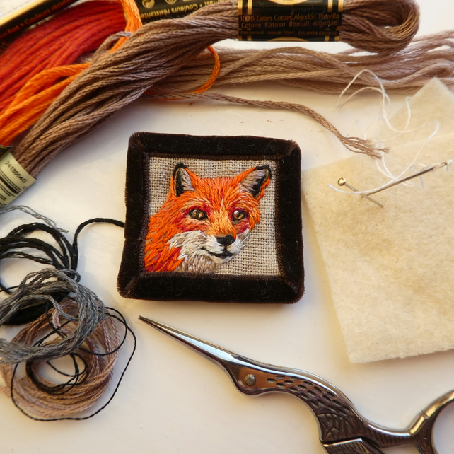Fox Brooch - hand stitched