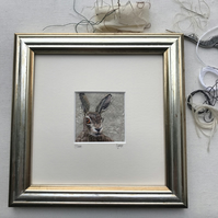 Hare - hand stitched picture