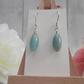 Amazonite rice bead gemstone dangle earrings throat chakra