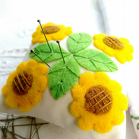 Sunflowers Pin Cushion, Hand Embroidered Felt Applique