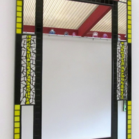 Stained glass mosaic mirror in black and yellow glass.FREE UK MAINLAND DELIVERY