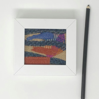 Original textile art (blue, orange and pink)