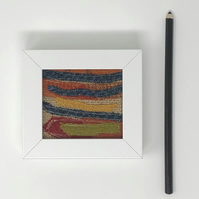 Original textile art (blue, orange, yellow, red, green)