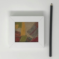 Original Harris Tweed textile art (orange, yellow, green, grey)