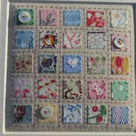 A Little Quilt hand-stitched framed original, vintage fabrics, tiny MOP buttons