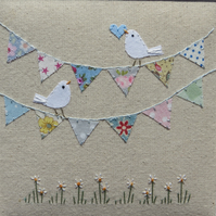 Bunting with Birds hand-stitched framed work for gifting, nursery,engagement...