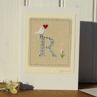 Sweet little hand-stitched letter R - new baby, Christening or first birthday