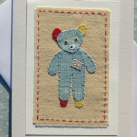 Little Bear hand-stitched miniature on card, for lovers of bears everywhere!