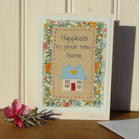 Hand-stitched new home card to brighten up a busy day of un-packing!