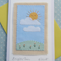 'Brighter Times' hand-stitched card full of sunshine and happiness for Spring
