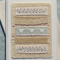 'Antiquity' vintage lace, embroidery, hand-dyed recycled cotton, anytime card