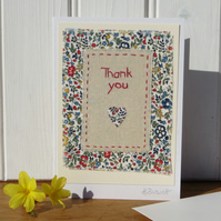 Hand-stitched Thank You card with pretty Liberty Tana Lawn flower print fabric