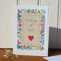 Thinking of You pretty hand-stitched card with Liberty fabric and applique heart
