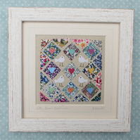 Little Doves Patchwork, framed, finely hand-stitched applique with tiny doves
