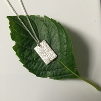 Sage leaf imprinted rectangle pendant