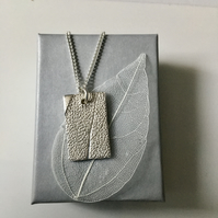 Rectangle pendant with Sage leaf imprint