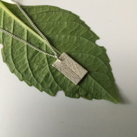 Small rectangle pendant with Sage leaf imprint