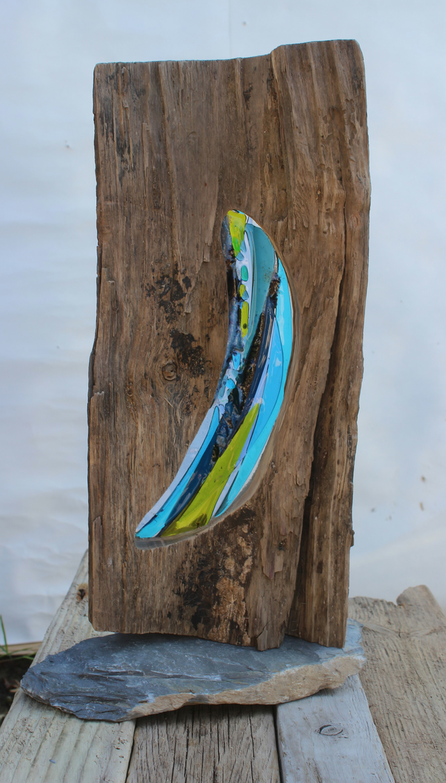 Driftwood & Fused Glass Mood Window
