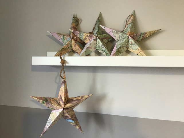 4 pack of mini origami map stars - Lake District