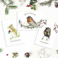 Christmas A6 woodland card selection - Robin - Wee Birdie - Christmas Mouse -