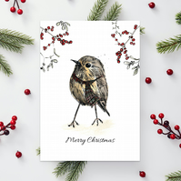 'Wee birdie' Christmas A6 cards - Unique Scottish artwork by Morvenna