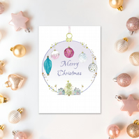 Christmas Bauble A6 cards - Scottish artwork by Morvenna - Merry Christmas card