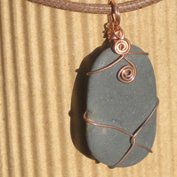 Copper Wire Wrapped Shale Pebble Pendant with 2 spirals