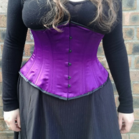 "Hand made 28"" (71cm) waist underbust purple 100% steel boned corset"