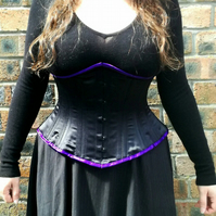 "Hand made 28"" (71cm) underbust black steel boned corset"